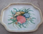 Elite Tin Snack Tray   Seashells Tin Snack Tray    Made in England    Small Tin Snack Tray