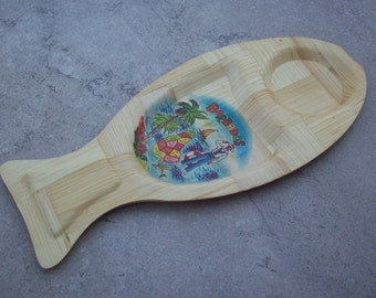 SALE  Souvenir Bamboo Snack Tray from Barbados  ~  Bamboo Snack Tray