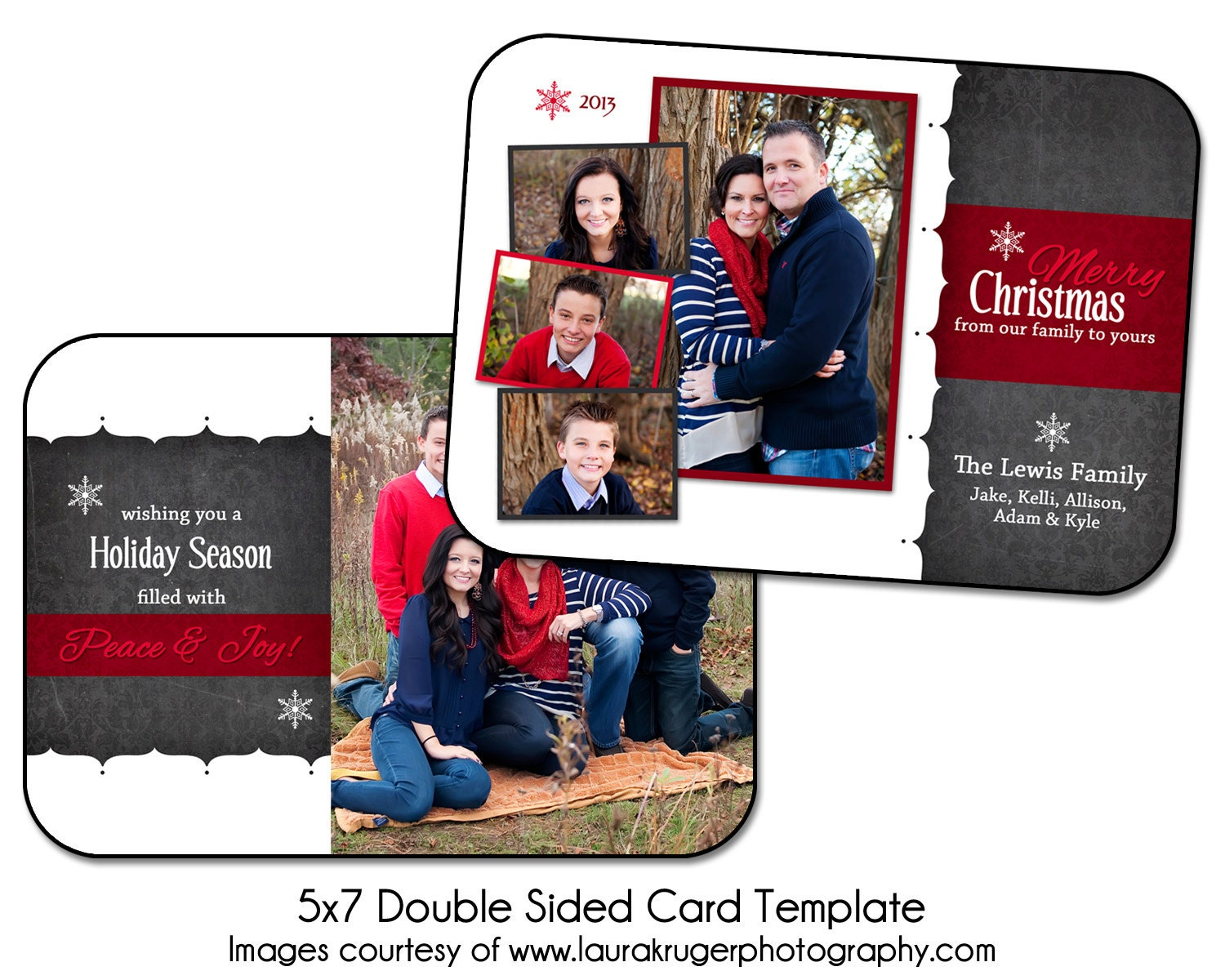 christmas card template holiday chalk 5x7 double sided. Black Bedroom Furniture Sets. Home Design Ideas