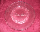 "Personalized etched 13"" serving platter with name and circular flourish"