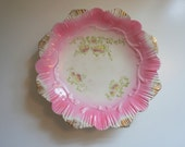 "Vintage Pink and Gold Serving Plate Verus Porcelain 9 1/2"" Diameter - Floyd Jones Vintage"