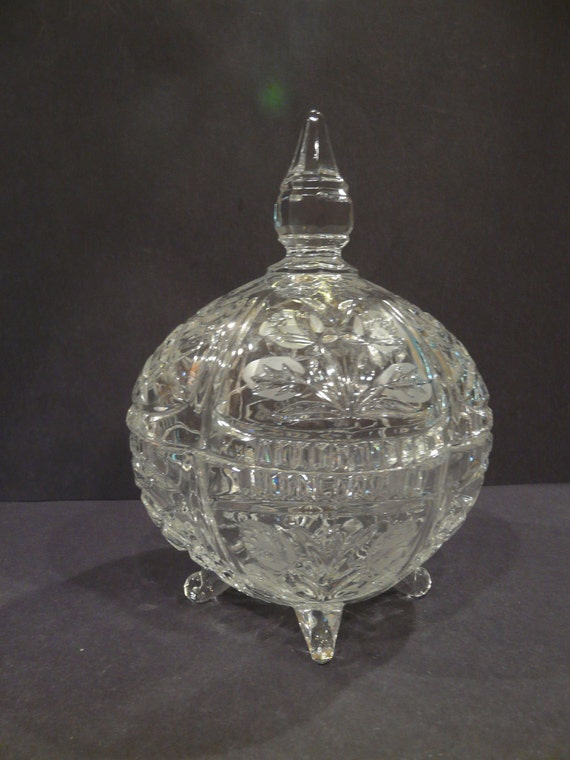 24 Lead Crystal Candy Dish With Lid Poland Vintage