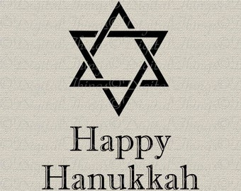 Happy Hanukkah Chanukah Star of David Jewish Holiday Decor Printable Digital Download for Iron on Transfer Fabric Pillows Tea Towels DT488
