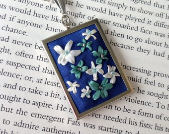 Embroidered Flower Necklace Blue and White - Silk Ribbon Embroidery By BeanTown Embroidery