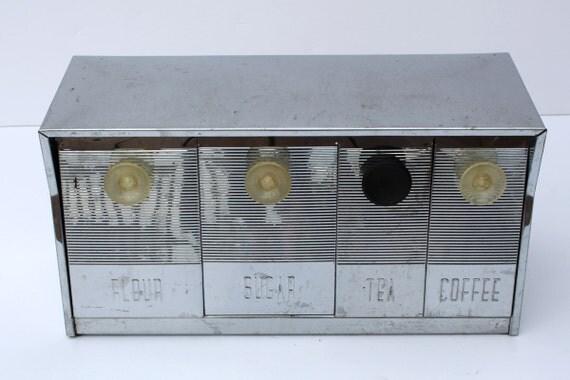Vintage Wall Mountable Krestline Metal Canister Set Wall Hanging Silver Canister Set