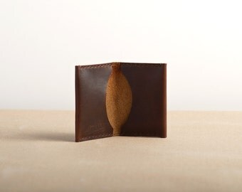 Leather Folded Card Case - Brown Horween Chromexcel