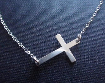Sale-Sterling Silver Cross Connector - sterling silver necklace -  mother's jewelry, special day gift, birthday gift