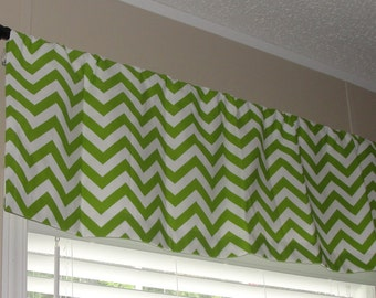 "Premier Prints Chartreuse Green and White Chevron Valance 50"" wide x 16"" long Zig Zags Lined or Unlined"