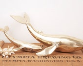 vintage large brass whale family figurines