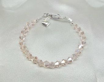 Girls Pink Bracelet Girls Crystal Bracelet Baby Bracelet Toddler Bracelet Adjustable Bracelet 100% 925 Sterling Silver BuyAny3+Get1 Free