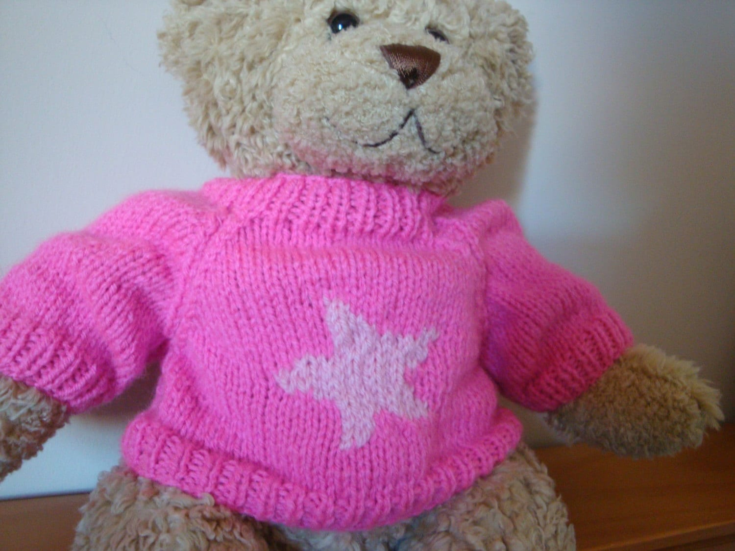 Knitting Pattern For Teddy Bear Sweater : Teddy Bear Sweater Hand knitted Bright Pink Star design