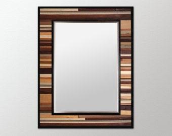 "SALE! Reg. 525.00 - Natural Reclaimed Wood Mirror - ""Natural Reflection""- Wood Stripe Wall Sculpture - 40x34"" - Modern Wood Wall Art"