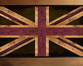 Union Jack Flag - British Flag - Weathered Reclaimed Wood Coffee Table or Desk - Reclaimed Wood Art - Modern Wood Wall Art - Wood Desk