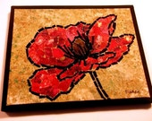 """Fabric mosaic quilt, on canvas, red poppy, free-motion quilted, 8""""x10"""""""