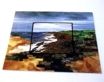 Postcard, Fiber Art print, quilted photo landscape, Rocky Shores