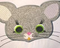 Mouse Farm Animal Face Machine Applique Embroidery Design - 5x7 & 6x8