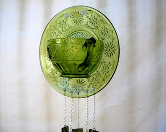 OOAK Depression Glass, Indiana Daisy Tea Cup & Saucer Stained Glass Wind Chimes, Suncatcher, Glass Yard Art, Recycled Garden Art, Windchimes