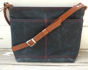Black Waxed  Canvas Zipper Closure Tote Bag  - Leather  Strap Shoulder bag / Tote Bag / Diaper Bag / Messenger Bag