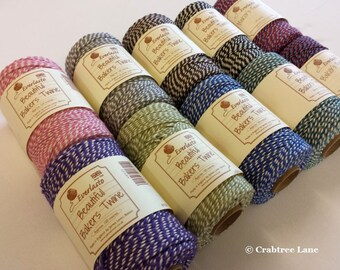 British Bakers Twine String - Striped - Blue Red Brown Black Violet Pink Grey Green - Craft Decorate