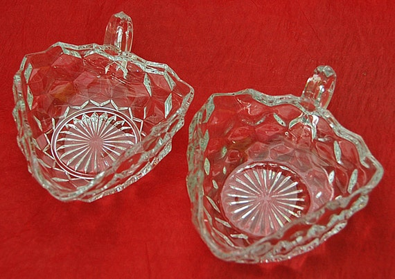 Vintage Pair FOSTORIA AMERICAN TRICORNER of 2 Handled Collectible Nappies Excellent Condition Purchased From Original Owner -