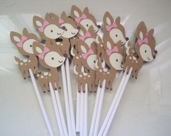 12 Girl deer cupcake toppers