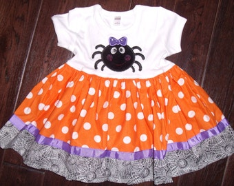 Boutique Halloween Chic Spider Tee Dress Sizes 3M to 8 youth