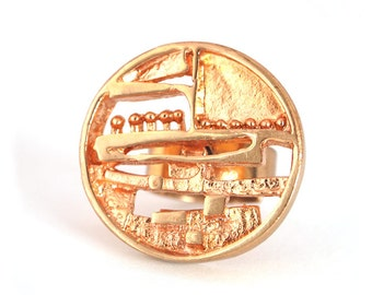 Sale : 1960s Finland Vintage Jorma Laine Bronze Gold Ship Ring Turun Hopea Nordic Scandinavian