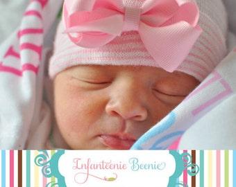first bow newborn hospital hat, newborn girl hat, newborn hospital hat with bow, first bow, baby girl hat, newborn hat, newborn beanie