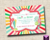 Printable Sweet Shoppe Birthday Party Invitations - Candy, Lollipops, Rock Candy