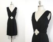1960s cocktail dress // vintage dress // little black dress // size small // Deep V neckline