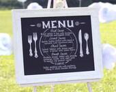 "Menu drawing for wedding, 16"" x 20"" canvas, custom hand-drawn lettering, chalkboard style"