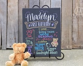 "11""x14"" canvas, first birthday chalkboard style custom ink drawing, the original Favorite Things Poster™"