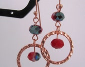 Coral Red and Copper Earrings