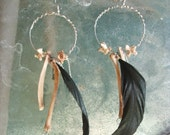 Feather and Bone Hoop Earrings (OOAK)