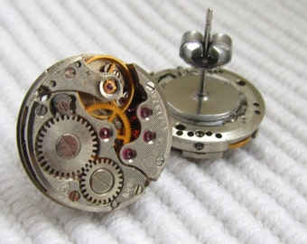 Steampunk  Stud  Earrings with small vintage mechanical  watch movements. Steampunk Jewelry Gift under 30 Dollars