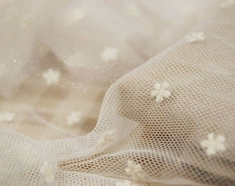 off white lace fabric, embroidered tulle lace , vintage lace fabric
