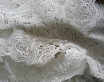 off white Lace Fabric, crocheted lace fabric, embroidered poeny lace, standing out applique