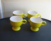 Coffee Mugs Vintage Lemon Yellow Mikasa Footed Mug Set of 4 Forecast Yellow 70s