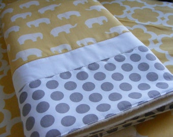 Baby Bedding Crib Stroller  Quilt  cotton organic fleece Grey Yellow Elephants