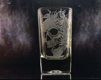 Skull shot glass with flames Hand engraved shot glass. Clear  custom barware bar  custom glassware gifts for him masculine