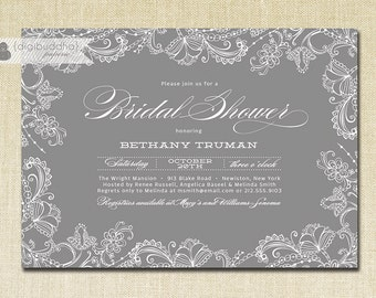Lace Bridal Shower Invitation Gray Slate Charcoal Classic Elegant Wedding Invite Printable Digital or Printed - Bethany Style