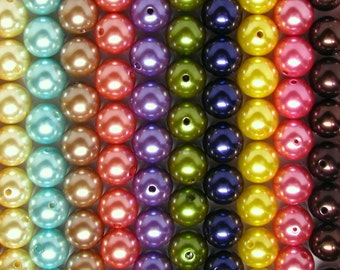 BULK DISCOUNT 24mm PEARLS, Eighty (80) Pearl Beads, Round Imitation Pearls Girls Bubblegum Beads