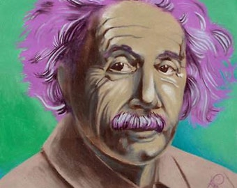 handpainted print, Einstein portrait art print, lavender, purple and green Albert Einstein smiling
