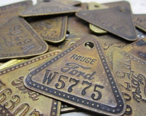 Only 1 Vintage Brass Tag Ford Motor Company Rouge Plant Car Truck Auto Metal Number Tag Industrial Antique Tag vtg Keychain Stocking Stuffer