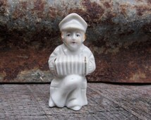 REDUCED Vintage Occupied or Signed JAPAN Miniature Statue Collectible Figure Boy Playing Accordian