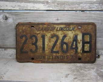 Vintage Metal License Plate Wall Hanger Illinois  Rusted and Naturally Distressed 1973 Rusty Metal