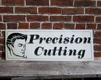Large Vintage Sign Precision Cutting Mens Hairstyling Salon Hairdresser Sign Plastic Sign 1980s 80s Era Retro Raised Letters 3D Black  White