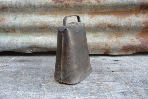 Large Antique Metal Cow Bell or Goat Bell All Metal  Primitive Rustic Decor Old Vintage Bell