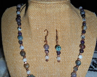 Moonstone, Indian Agate and Amethyst Necklace, Bracelet and Earrings