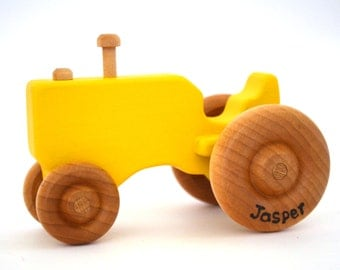 Personalized Tractor Toy - Waldorf Toy - Push Toy - Wood Toy - Yellow Tractor